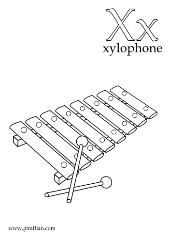 x is for xylophone coloring page xylophone drawing wiring